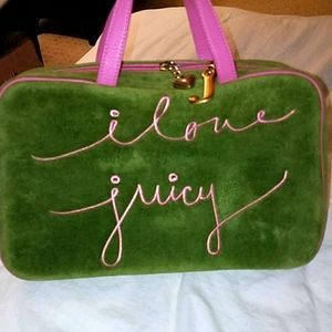 Juicy Couture Large Bag Carry Case Velour Green